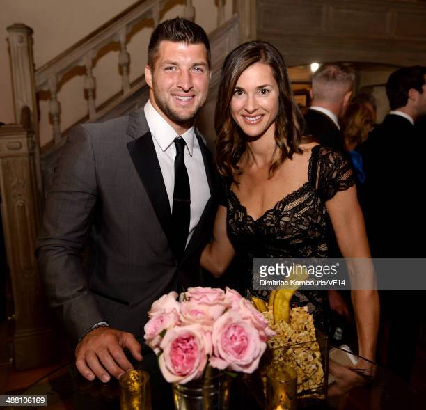 Tim Tebow and Katie Shepherd attend the Bloomberg Vanity Fair cocktail reception following the 2014 WHCA Dinner at Villa Firenze on May 3 2014 in...