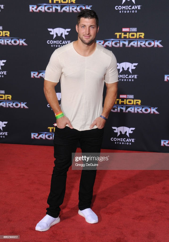 Tim Tebow arrives at the premiere of Disney and Marvel's 'Thor: Ragnarok' at the El Capitan Theatre on October 10, 2017 in Los Angeles, California.
