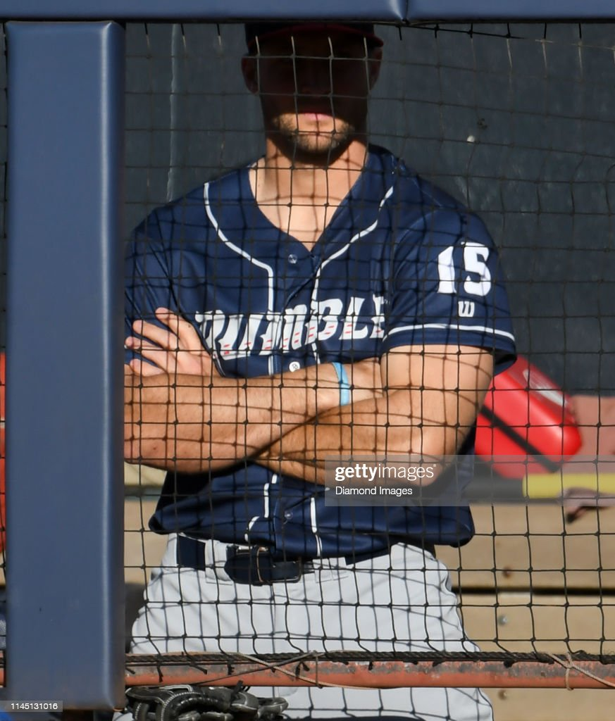 newest 3ae63 60548 Tim Tebow of the Binghamton Rumble Ponies watches the action ...