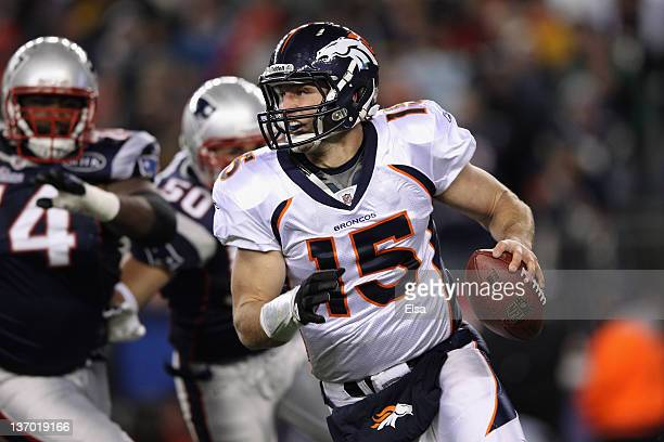 Tim Tebow of the Denver Broncos looks to pass in the first quarter against the New England Patriots during their AFC Divisional Playoff Game at...