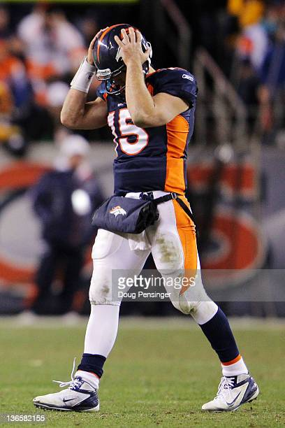 Tim Tebow of the Denver Broncos reacts after Willis McGahee fumbled the ball in the fourth quarter against the Pittsburgh Steelers during the AFC...