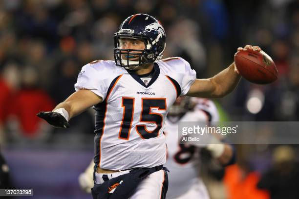 Tim Tebow of the Denver Broncos throws a pass against the New England Patriots during their AFC Divisional Playoff Game at Gillette Stadium on...