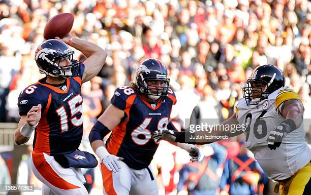 Tim Tebow of the Denver Broncos throws the ball against the Pittsburgh Steelers during the AFC Wild Card Playoff game at Sports Authority Field at...