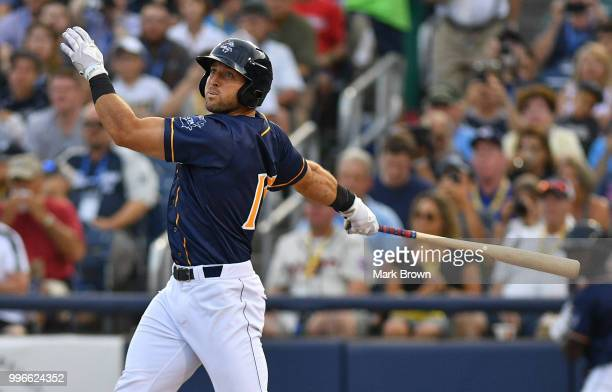 Tim Tebow of the Eastern Division All Stars at bat in the second inning during the 2018 Eastern League All Star Game at Arm Hammer Park on July 11...