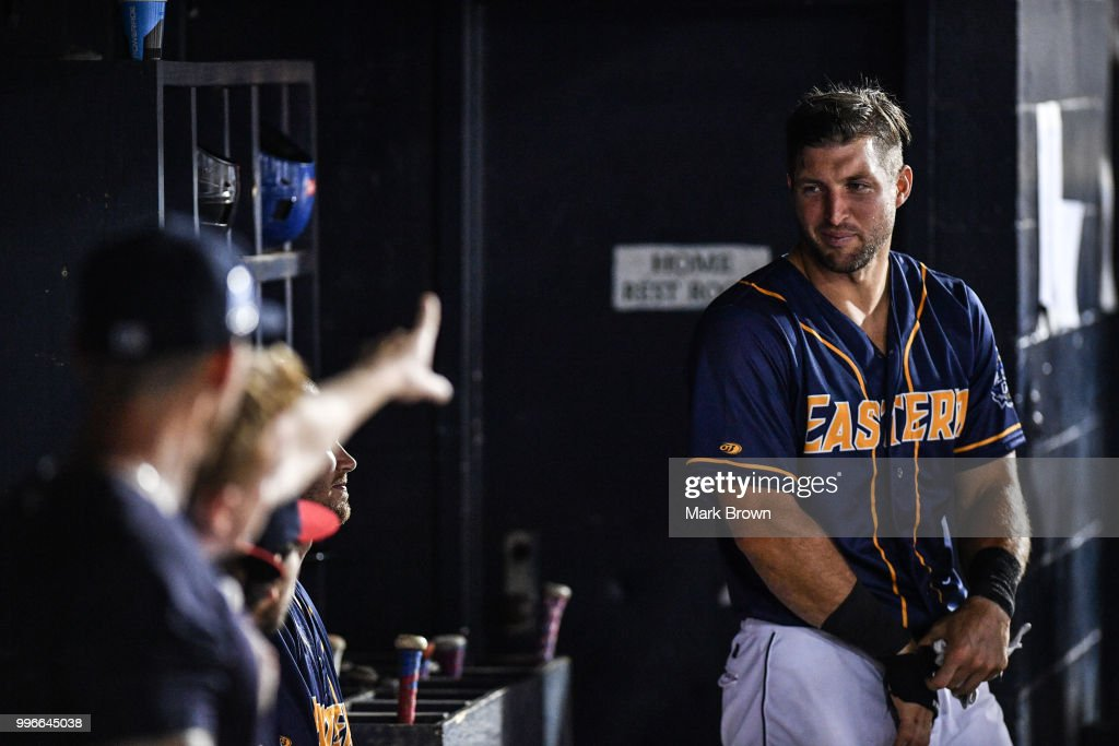 Tim Tebow #15 of the Eastern Division All Stars in the dugout during the 2018 Eastern League All Star Game at Arm & Hammer Park on July 11, 2018 in Trenton, New Jersey.