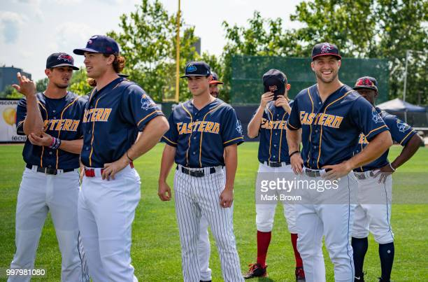 Tim Tebow of the Eastern Division AllStars poses with teammates before the 2018 Eastern League All Star Game at Arm Hammer Park on July 11 2018 in...