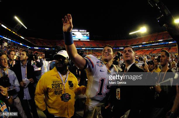 Tim Tebow of the Florida Gators celebrates as he walks off the field after their 24-14 against the Oklahoma Sooners during the FedEx BCS National...