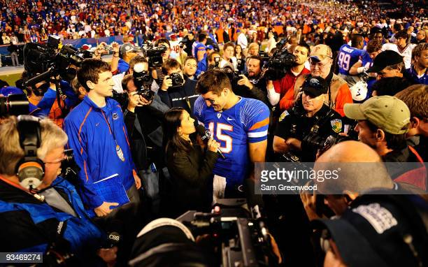 Tim Tebow of the Florida Gators speaks to the media following the game against the Florida State Seminoles at Ben Hill Griffin Stadium on November 28...