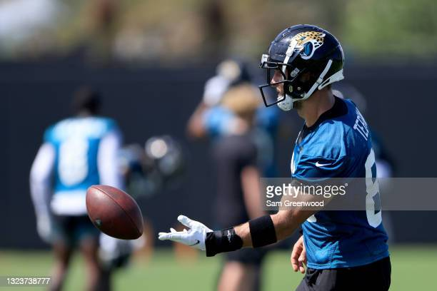 Tim Tebow of the Jacksonville Jaguars participates in drills during Jacksonville Jaguars Mandatory Minicamp at TIAA Bank Field on June 15, 2021 in...