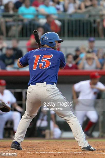 Tim Tebow of the Mets at bat during the Florida State League game between the St Lucie Mets and the Florida Fire Frogs on July 21 at Osceola County...