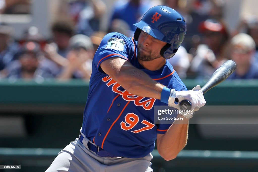 Tim Tebow (97) of the Mets at bat during the spring training game between the New York Mets and the Detroit Tigers on March 20, 2017 at Joker Marchant Stadium in Lakeland, Florida.