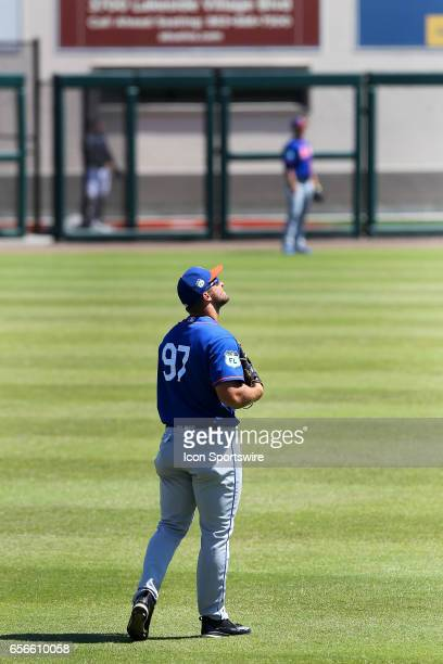 Tim Tebow of the Mets looks up towards the heavens during the spring training game between the New York Mets and the Detroit Tigers on March 20 2017...