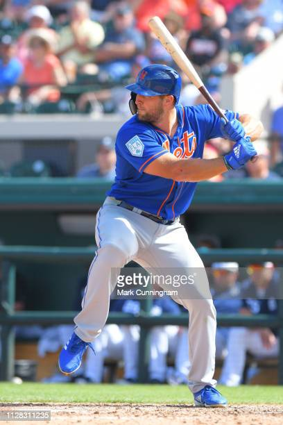 Tim Tebow of the New York Mets bats during the Spring Training game against the Detroit Tigers at Publix Field at Joker Marchant Stadium on March 1...