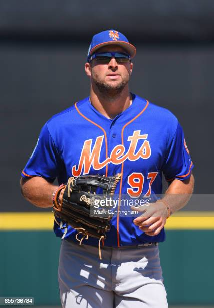 Tim Tebow of the New York Mets looks on during the Spring Training game against the Detroit Tigers at Publix Field at Joker Marchant Stadium on March...