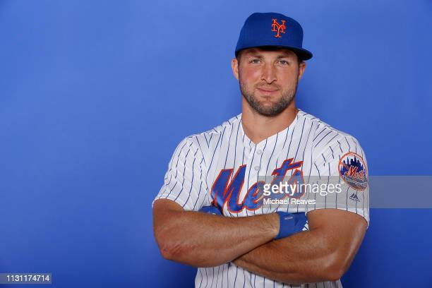 Tim Tebow of the New York Mets poses for a photo on Photo Day at First Data Field on February 21 2019 in Port St Lucie Florida