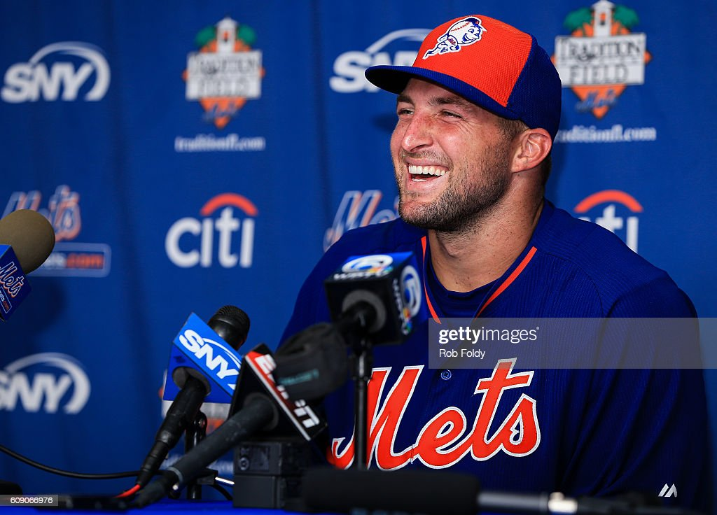 Tim Tebow #15 of the New York Mets speaks at a press conference after a work out at an instructional league day at Tradition Field on September 20, 2016 in Port St. Lucie, Florida.