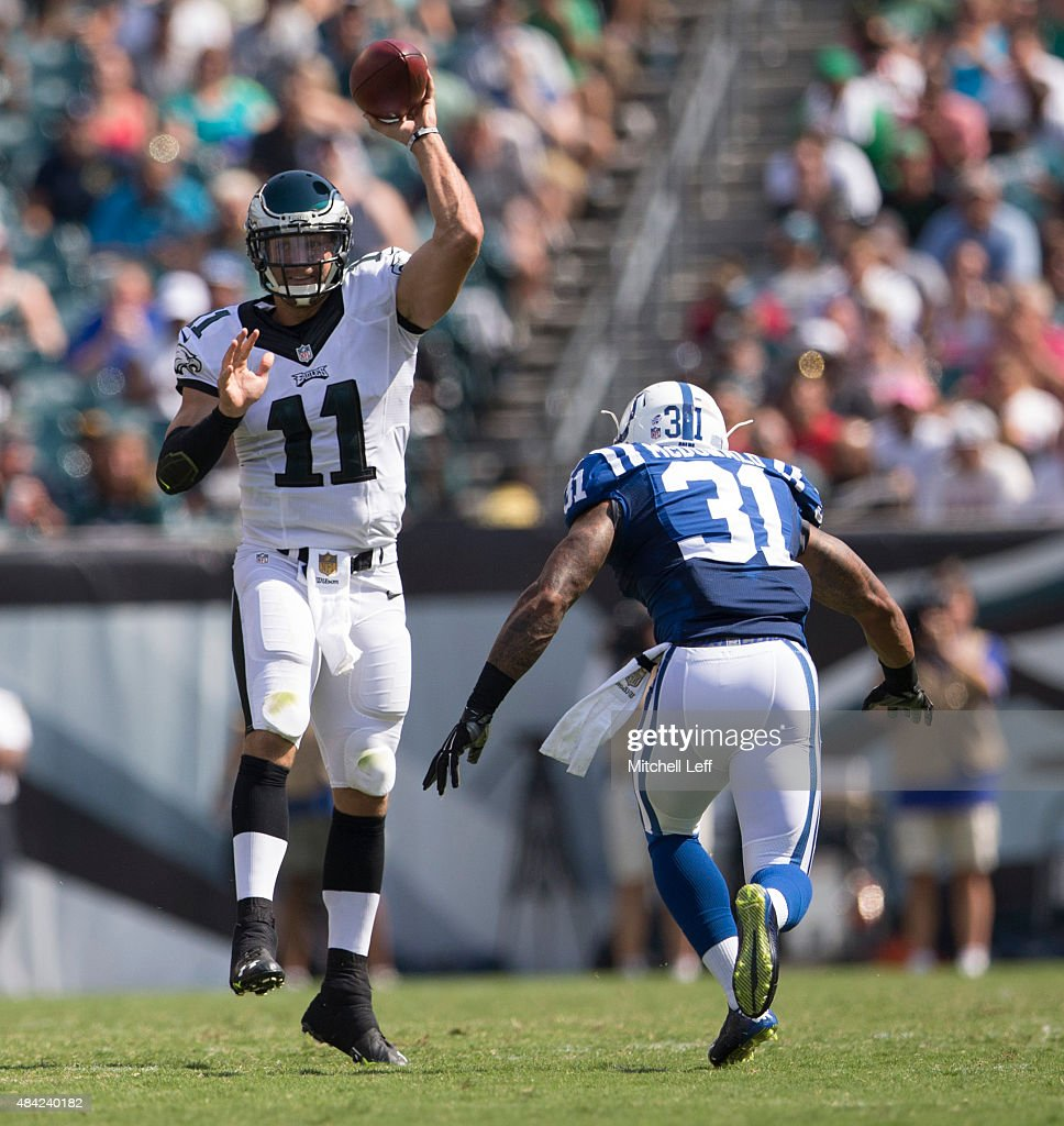 Tim Tebow #11 of the Philadelphia Eagles throws the ball over Dewey McDonald #31 of the Indianapolis Colts on August 16, 2015 at Lincoln Financial Field in Philadelphia, Pennsylvania. The Eagles defeated the Colts 36-10.