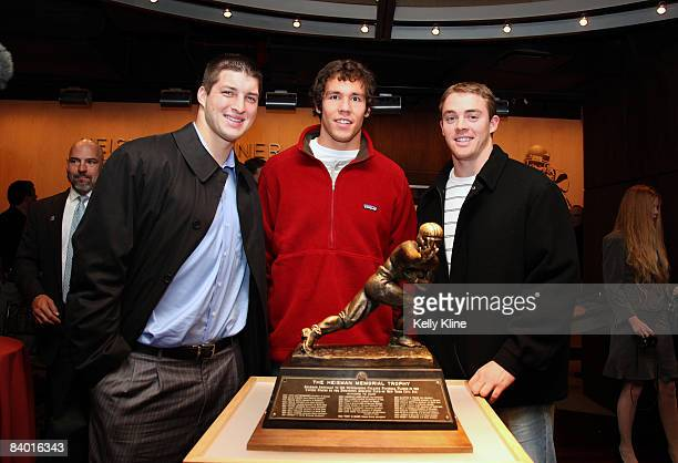 Tim Tebow of the University of Florida Colt McCoy of the University of Texas and Sam Bradford of the University of Oklahoma visit the Top of the Rock...