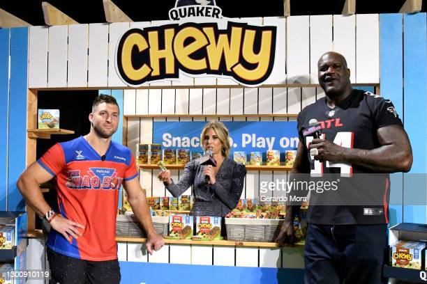 Tim Tebow, Sara Walsh, and Shaquille O'Neal speak during The SHAQ Bowl for Super Bowl LV on February 07, 2021 in Tampa, Florida.