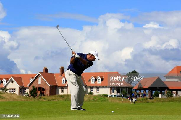Tim Thelen of the United States in action during the second round of the Scottish Senior Open at The Renaissance Club on August 5 2017 in North...