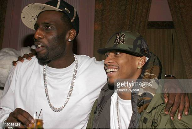 Tim Thomas and Allen Iverson during Tim Thomas of New York Knicks' Birthday Party February 23 2005 at Show in New York City New York United States