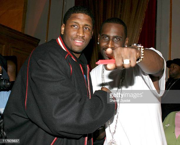 Tim Thomas and Mike Sweetny of the NY Knicks during Tim Thomas of the New York Knicks Birthday Party February 26 2005 at Capitale in New York City...