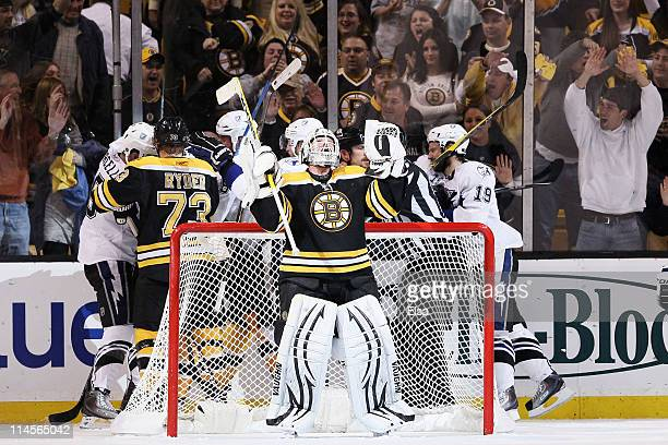 Tim Thomas of the Boston Bruins celebrates after their 3 to 1 victory over the Tampa Bay Lightning in Game Five of the Eastern Conference Finals...