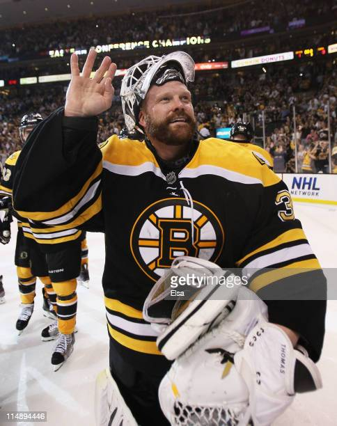 Tim Thomas of the Boston Bruins celebrates after they defeated the Tampa Bay Lightning 1 to 0 in Game Seven of the Eastern Conference Finals during...