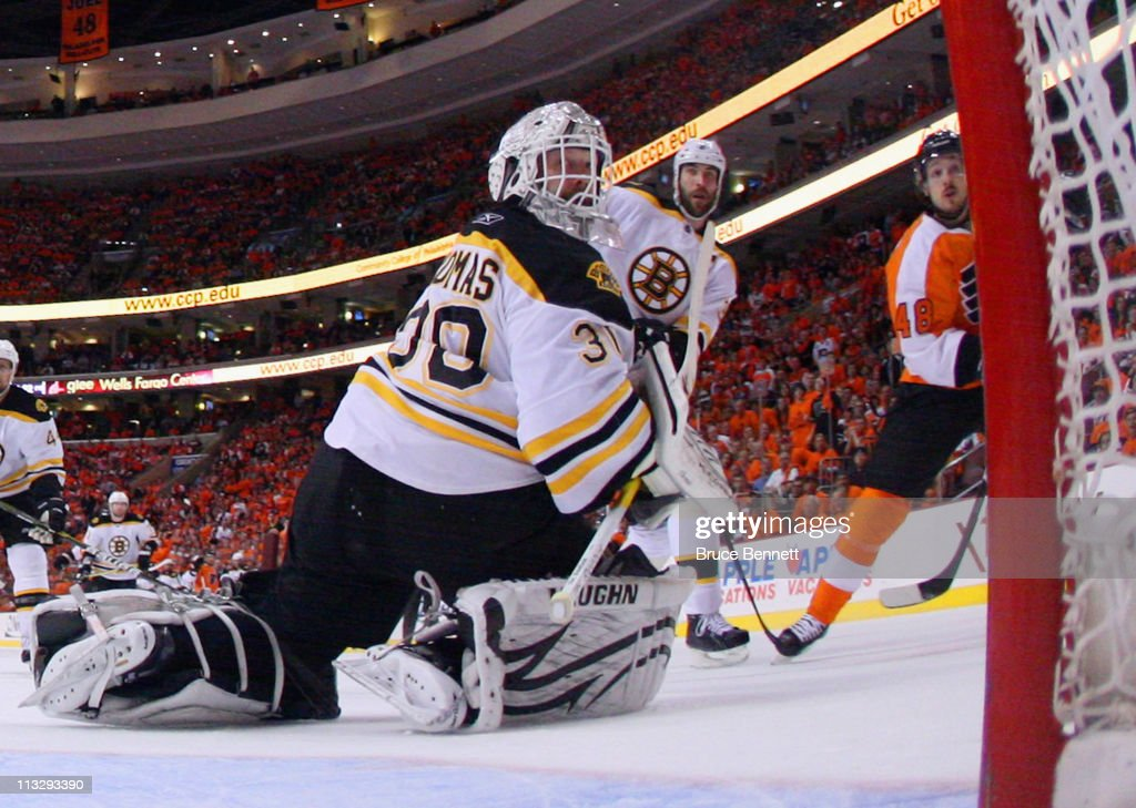 Tim Thomas #30 of the Boston Bruins defends the net against the Philadelphia Flyers in Game One of the Eastern Conference Semifinals during the 2011 NHL Stanley Cup Playoffs at the Wells Fargo Center on April 30, 2011 in Philadelphia, Pennsylvania. The Bruins defeated the Flyers 7-3.