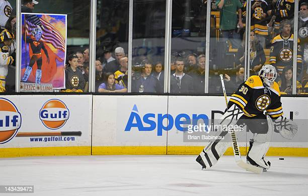 Tim Thomas of the Boston Bruins during warm ups prior to the game against the Washington Capitals in Game Seven of the Eastern Conference...
