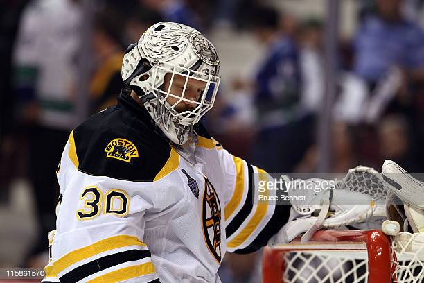 Tim Thomas of the Boston Bruins looks on against the Vancouver Canucks during Game Five of the 2011 NHL Stanley Cup Final at Rogers Arena on June 10,...