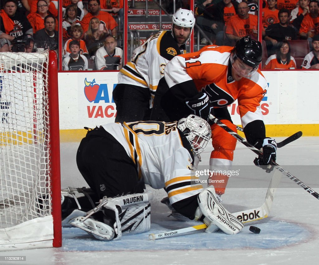 Tim Thomas #30 of the Boston Bruins makes the save on James van Riemsdyk #21 of the Philadelphia Flyers in Game One of the Eastern Conference Semifinals during the 2011 NHL Stanley Cup Playoffs at the Wells Fargo Center on April 30, 2011 in Philadelphia, Pennsylvania.