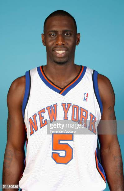 Tim Thomas of the New York Knicks poses for a portrait during NBA Media Day on October 4 2004 in New York New York NOTE TO USER User expressly...
