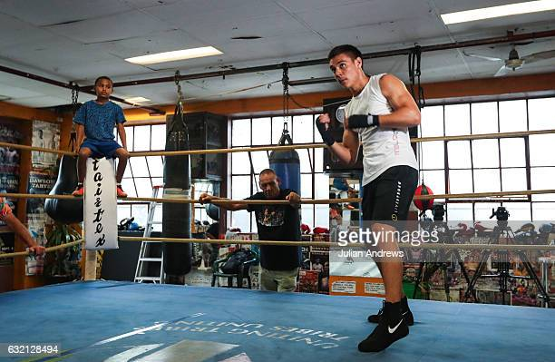 Tim Tszyu works out during a training session with Anthony Mundine on January 20 2017 in Sydney Australia