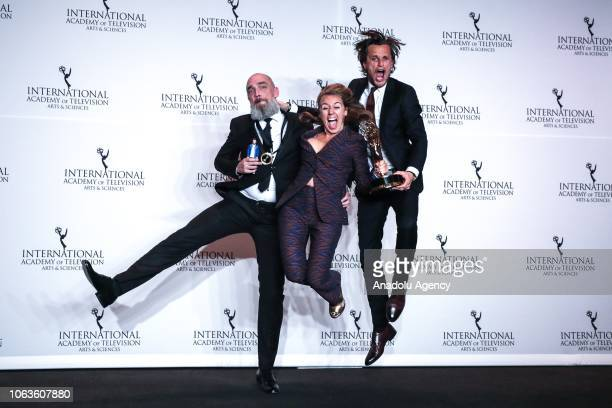 Tim Van Aelst and Sofie Peeters give a pose with their award during the 46th International Emmy Awards at New York Hilton on November 19 2018 in New...