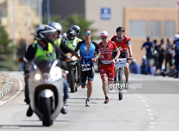 Tim Van Berkel and Ben Hoffman during the Standard Bank Ironman South Africa at Nelson Mandela Bay Stadium on April 10 2016 in Port Elizabeth South...