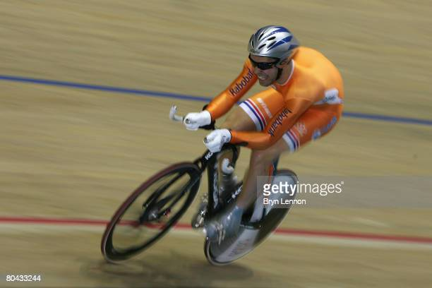 Tim Veldt of The Netherlands in action during the Men's 1km Time Trial Final during the UCI Track Cycling World Championships at the Manchester...