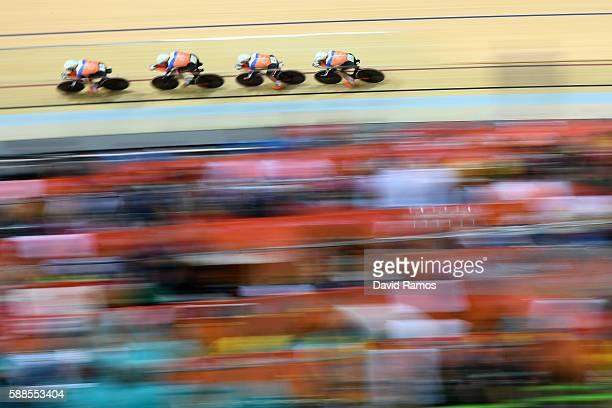 Tim Veldt Wim Stroetinga JanWillem van Schip and Joost van der Burg of Netherlands compete in the Men's Team Pursuit Track Cycling Qualifying on Day...