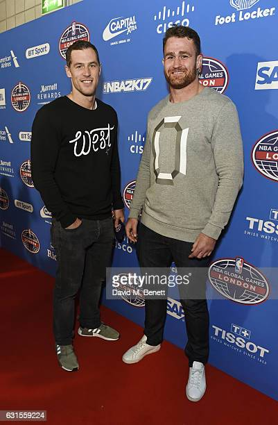 Tim Visser and James Horwill attend the Denver Nuggets v Indiana Pacers game during NBA Global Games London 2017 at The O2 Arena on January 12 2017...