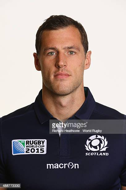 Tim Visser of Scotland during the Scotland Rugby World Cup 2015 squad photo call at the Hilton Puckrup Hall Hotel on September 17 2015 in Tewkesbury...