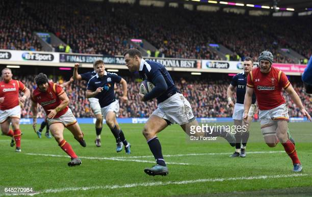 Tim Visser of Scotland runs in his team's second try during the RBS Six Nations match between Scotland and Wales at Murrayfield Stadium on February...