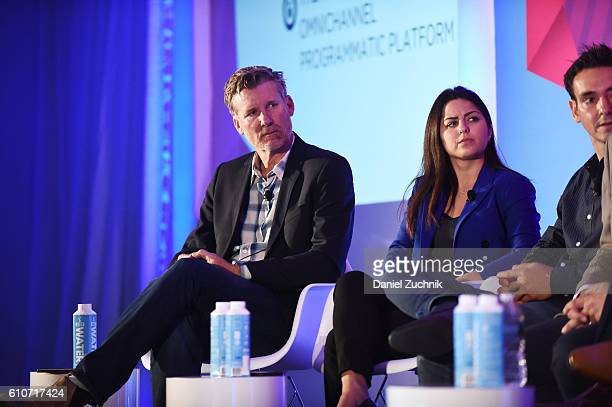 Tim Waddell Stephanie Senna and Yannis Dosios speak onstage at the The Rise of the Omnichannel Programmatic Platform on the ADARA Stage at Times...