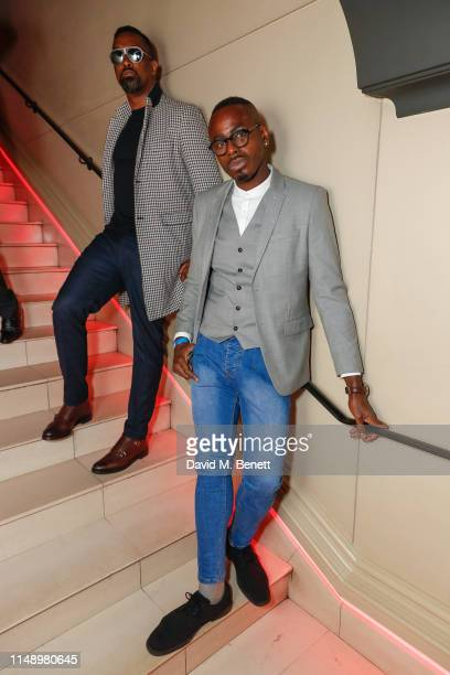 Tim Wade and Ben Ofoedu attend the Glass Man launch x Supa Model Management LFWM party during London Fashion Week at the Novikov on June 10 2019 in...