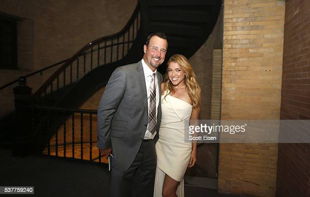 Tim Wakefield and Music artist Rachel Platten pose for a photo together at the UNICEF Children's Champion Award Dinner Honoring Pedro and Carolina...