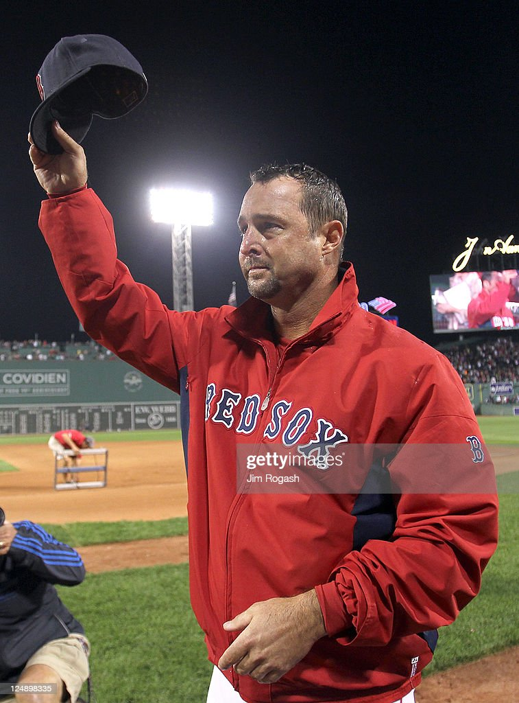 Tim Wakefield #49 of the Boston Red Sox reacts after earning his 200th win after a game with the Toronto Blue Jays at Fenway Park on September 13, 2011 in Boston, Massachusetts.