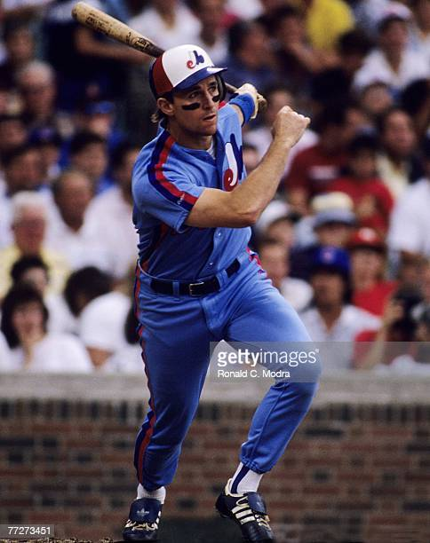 Tim Wallach of the Montreal Expos batting during a MLB game against the Chicago Cubs at Wrigley Field on August 7 1989 in Chicago Illinois