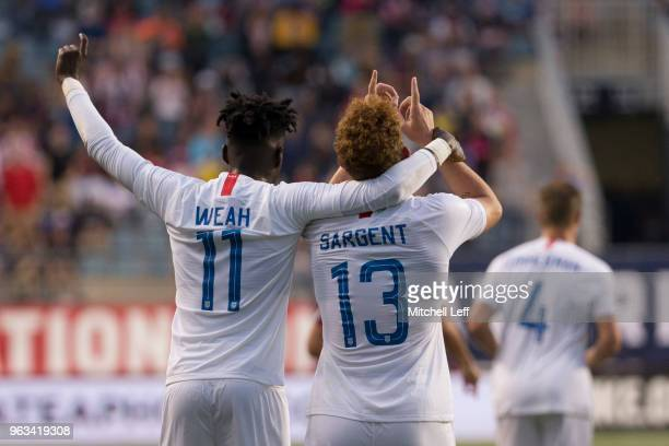 Tim Weah and Josh Sargent of the United States celebrate after a goal by Sargent in the second half of the friendly soccer match against Bolivia at...