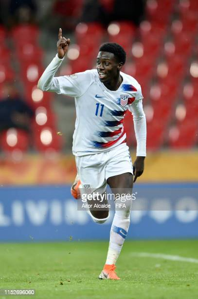 Tim Weah of the United States celebrates after scoring their team's first goal during the 2019 FIFA U20 World Cup group D match between USA and Qatar...