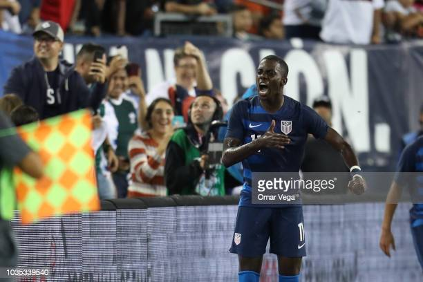 Tim Weah of the United States celebrates during an international friendly match between Mexico and United States at Nissan Stadium on September 11...