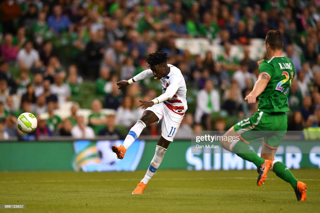 Tim Weah of The United States shoots wide during the International Friendly match between the Republic of Ireland and The United States at Aviva Stadium on June 2, 2018 in Dublin, Ireland.